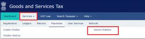 GST saved challans , payment gst saved challan taxreturnwala